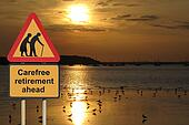 Carefree retirement road sign