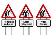 Reduced pensions, later retirement