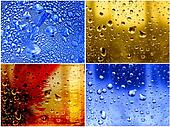 set dripped water on abstract background