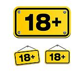 18 plus yellow signs
