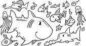 Cute Sea Creatures Doodle set