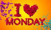 I love Monday Particles Heart Shape