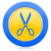 scissors blue yellow icon cut sign