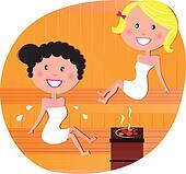 Cute women / friends relaxing in a hot sauna