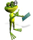 frog with tablet