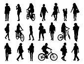 big set of women walking silhouettes