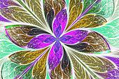 Multicolored fractal flower or butterfly in stained-glass window