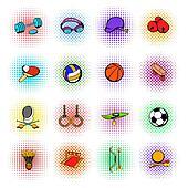 Sports equipment icons set, comics style