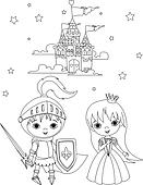 Medieval knight and princess color