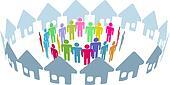 Social neighbor people meet in home ring
