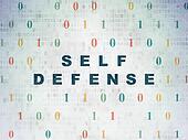 Safety concept: Self Defense on Digital Paper background