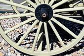 Wooden wagon wheel.
