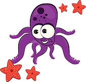 Cartoon illustration of octopus with starfish