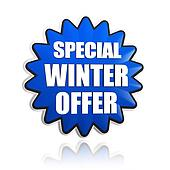 special winter offer in 3d blue star banner