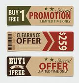 Sale Coupon, voucher, tag. Vintage Style template Design vector