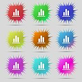 Growth and development concept. graph of Rate icon sign. A set of nine original needle buttons.
