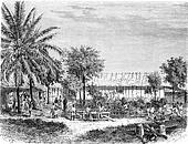Establishment of the Catholic Mission in Gabon, vintage engraving.