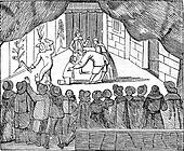 Theater inside to the reign of Cromwell, vintage engraving.