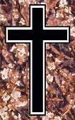 Peach Blossom Christian Cross (black inner)
