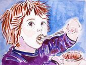 Little Girl Eating a Grapefruit