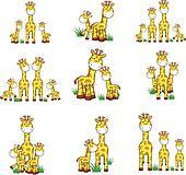 giraffe cartoon set 01