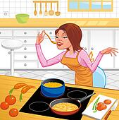 Woman coooking