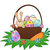 Easter bunny with a painted eggs in the basket
