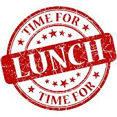 Time for lunch red round grungy vintage isolated rubber stamp