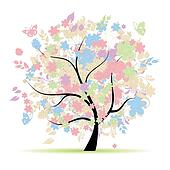 Floral tree in pastel colors for your design, spring