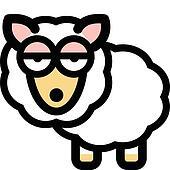 Sheep in funny cartoon style