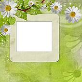 greeting card with daisies and abstracts green  background