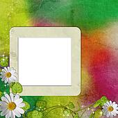 greeting card with daisies and abstracts background