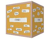 Family 3D cube Corkboard Word Concept