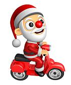 3D Santa character the Right motorbike driving. 3D Christmas Character Design Series.