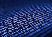 Binary code on pixellated screen