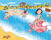 girl riding the fish