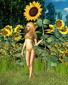 Sunflower Fairy, Summer background