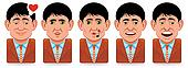 Avatar people icons (facial expressions:in love,whistle,yawn)