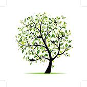 Spring tree green with birds for your design