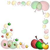 Sketch apple border.Transparent