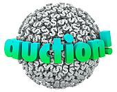 Auction Money Dollar Signs Symbols Ball Bid Item Buyer Seller
