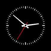 Clock dial on a black background.