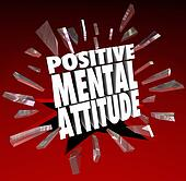Positive Mental Attitude 3d Words Break Through Glass