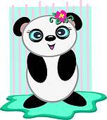 Panda Bear with a Flower