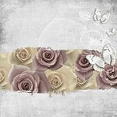 retro background with stamp-frame, flowers and butterfly