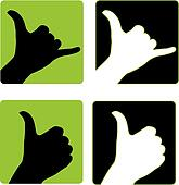 Shaka and Thumbs Up Hand Gesture