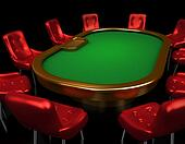 Poker table with chairs