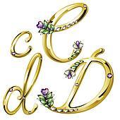 Gold jewelry alphabet letters C,D