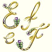 Gold jewelry alphabet letters E,F