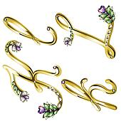 Gold jewelry alphabet letters K,L